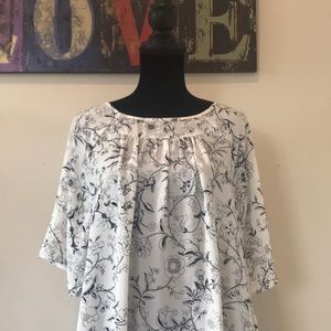 Loft XL white and navy multi media blouse